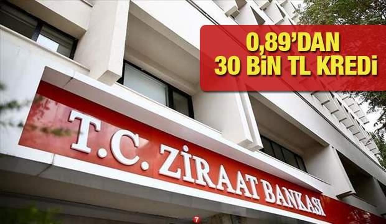 Ziraat Bankası 0,89'dan 30 bin TL'ye kadar İhtiyaç Kredisi! Kredi başvuru ekranı