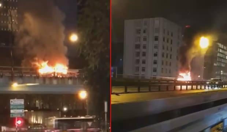 Mecidiyeköy D-100'de araç alev alev yandı
