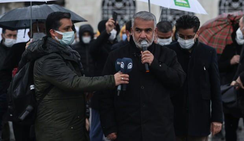 HÜDA PAR'dan Ayasofya önünde Kudüs ve Mescid-i Aksa için özgürlük çağrısı