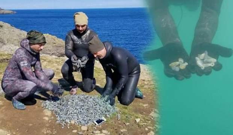 Hobi olarak daldıkları denizden 51 kilo olta kurşunu çıkardılar!