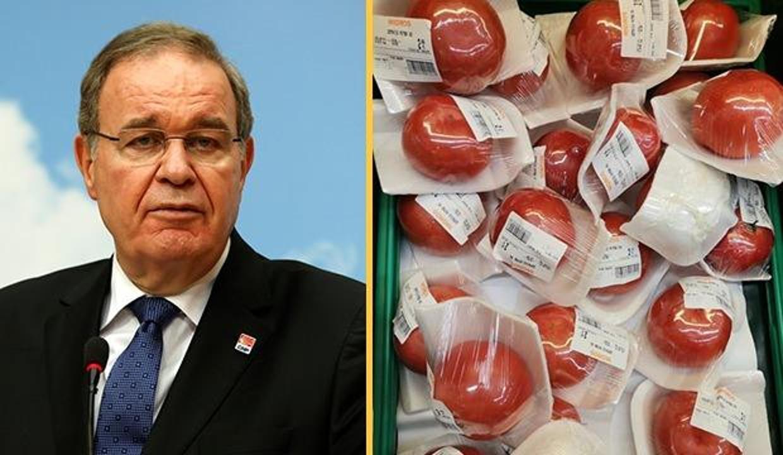 CHP Sözcüsü Öztrak 'domates'le algı yapmaya çalıştı