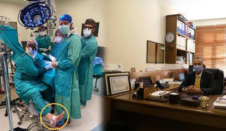 Ameliyatta fenalaşan doktor, ayağında serumla operasyonu tamamladı!