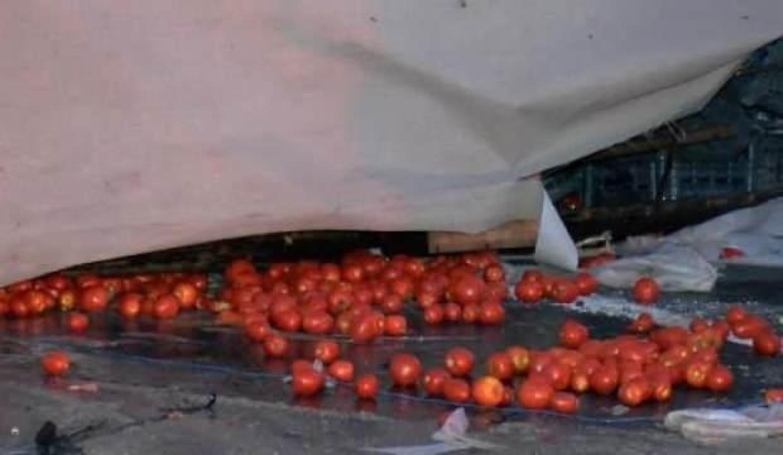 Eyüpsultan TEM Otoyolu'nda domates yüklü kamyonet devrildi: 3 yaralı
