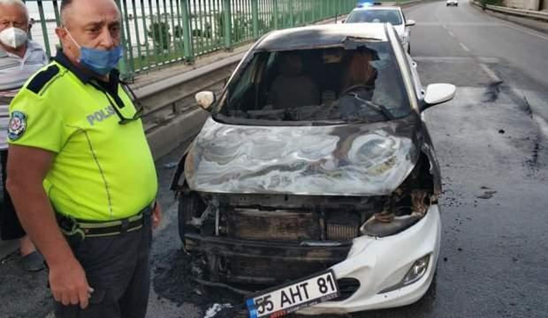 Bir hafta önce satın aldığı otomobil seyir halindeyken yandı