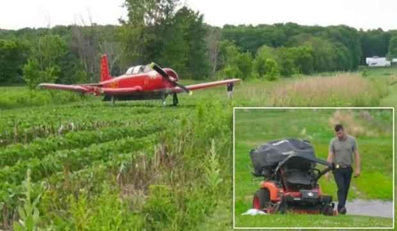 Çim biçerken uçak çarptı, öldü