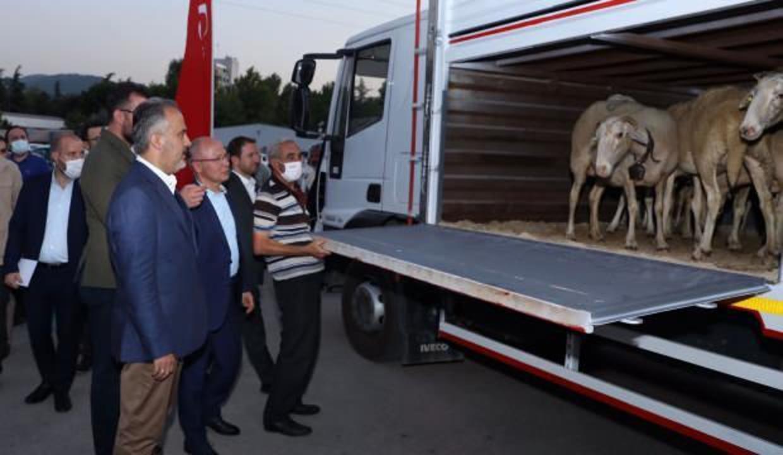 Bursa'dan  6 TIR yardım malzemesi yangın bölgeleri için yola çıktı