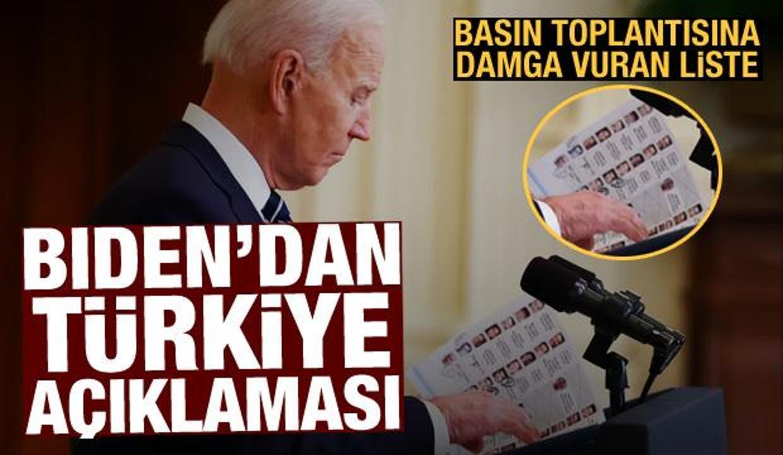 Joe Biden'dan Türkiye açıklaması: Basın toplantısına damga vuran liste