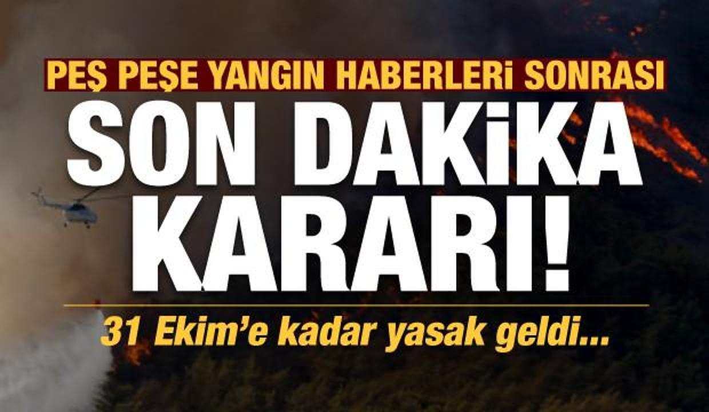 Peş peşe gelen yangın haberleri sonrası son dakika kararı! 31 Ekime kadar yasaklandı