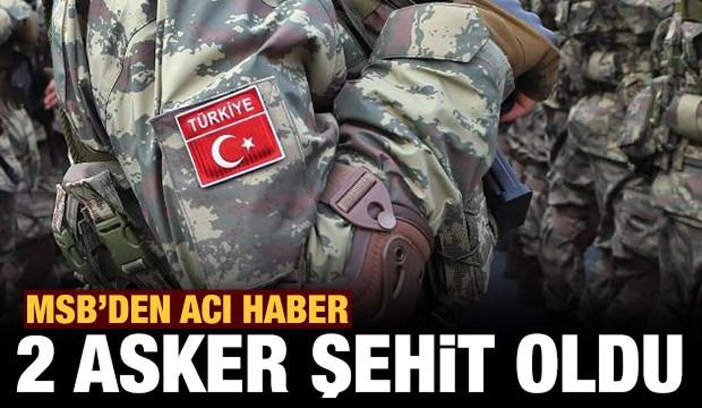 Son dakika: MSB'den acı haber: 2 asker şehit oldu!